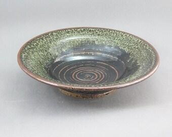 Pottery Bowl Waxy White & Tenmoku Glaze SWT09