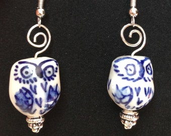 Blue and white porcelain owl earrings