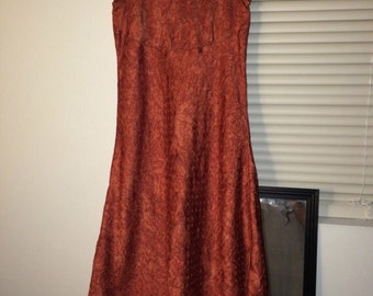 90s iridescent orange flower dress