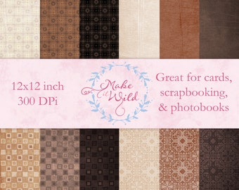 All Natural Digital Paper Pack, Scrapbooking Paper, Digital Paper, Shabby Chic, Template, Photoshop, Texture, Photography, Craft Supplies