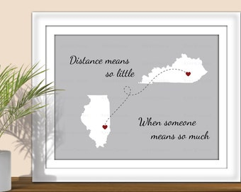 State Art, Distance Means So Little When Someone Means So Much- Hearts over City. Digital State Art Print. All States & Countries available.