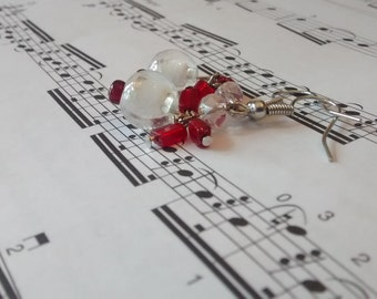 Red and White fringed earrings
