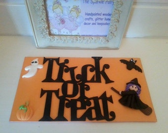 Unique Handmade Wooden Halloween Plaque Sign