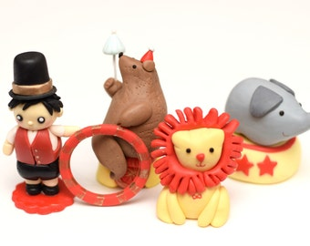 Fondant Circus Animals and Ringmaster 3D Cake Toppers