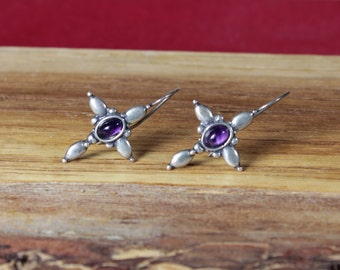 Taxco Mexican Silver and Amethyst Earrings