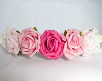 Floral Crown Flower Hairband Headband - Pink Hot Candy Pale and Ivory Roses Wedding Festival Bridesmaid Flowergirl Special Occasion