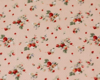 0,5 Meter of Pink Strawberry and Dots Pattern Cotton Fabric