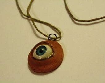Polymer Clay Blue Eye Ball Pendant Necklace