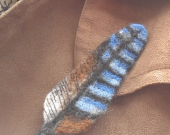 Jay Feather Brooch