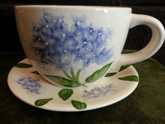 Giant Tea Cup Saucer Planter Vintage