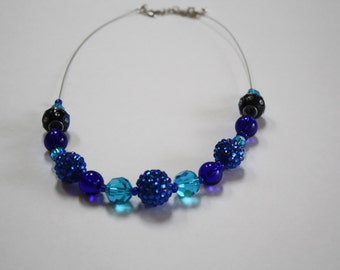 Blue Acrylic Glass Beaded Necklace, Blue Necklace, Beaded Necklace, Blue