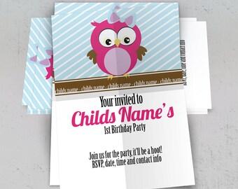 PRINTABLE Owl Birthday Invitation, Owl Girls Birthday Party Invite 5x7