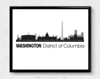 SALE -  Washington District Of Columbia, Washington Dc, Washington Dc Print, City State Print, Modern Print, Skyscraper Poster
