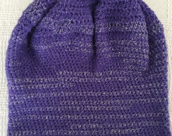 Purple with silver thread stripes glam crocheted  slouchy hat