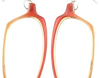 Coral 1980s Eyeglasses Frames Earrings (3157-01)