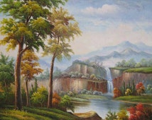 """100% hand-painted oil painting 35"""" x 23"""" fine view landscape scenery sight"""