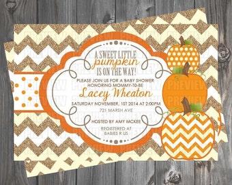 Pumpkin/Fall Baby Shower Invitation/Book Request Card