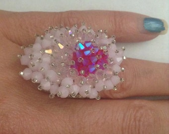 Pink and Silver beaded Ring