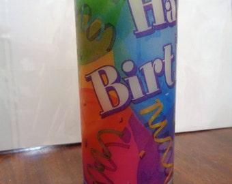 happy birthday pillar candle