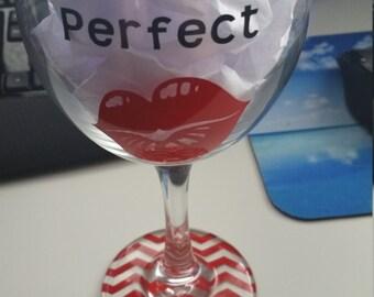 Miss Perfect Chevron Wine Glass
