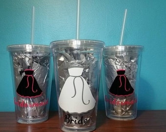 3pc Wedding Party Bridesmaid Gifts Tumbler Gift Set Personalized 2 Bridesmaids 1 Bride