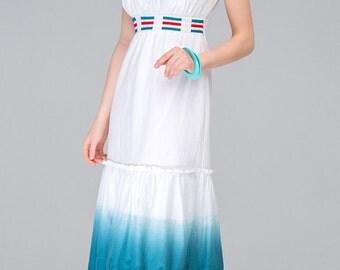 863 Women's summer dress 100% cotton. Decorated cutwork. With a high waist.