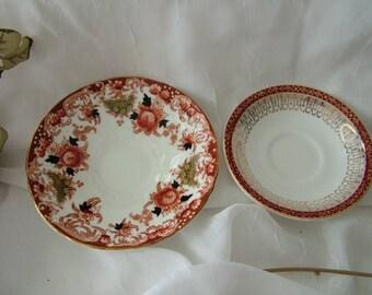2 mix match red brown english bone china saucers