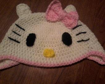 Crocheted Hello Kitty hat