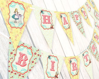 Alice in Wonderland PRE-MADE Happy Birthday Banner Pennants