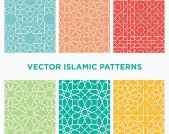 Download 6 Seamless Vector Islamic Arabic Geometric Patterns