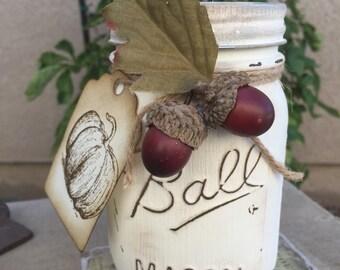 Fall Acorn Mason Jar