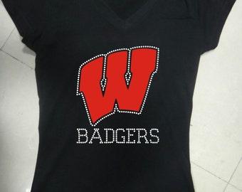 Bling Wisconsin Badgers T-Shirt Black