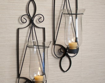 """Tuscan 21"""" Candle Holder Wall Sconce Set Handmade Contemporary Rustic Style Home Decor Danya B™ KF361"""