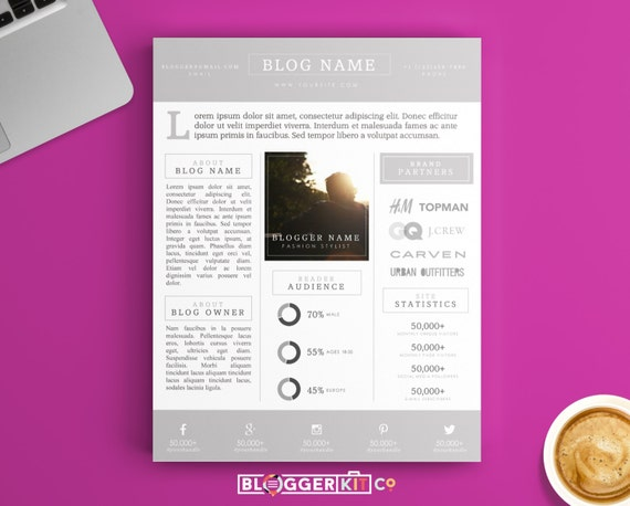 free electronic press kit template - one page media kit template press kit template by bloggerkitco