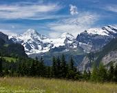 Switzerland Art Print, Alpine Meadow and Mountains, Swiss Landscape, Bernese Alps, Nature Photography, Mountain Landscape, Layered Landscape