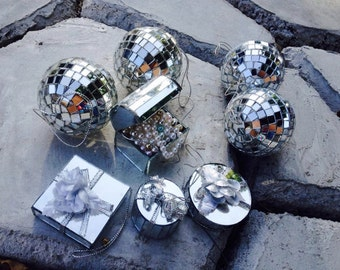 VINTAGE: 8 Christmas Ornaments-Collectible Christmas Mirrored Tile Ornament- Christmas Ornament Silver-Retro Vintage Style 70s.#6