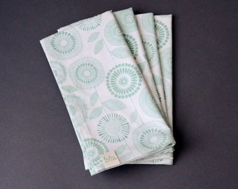Cloth Dinner Napkins, Organic Cotton, Petal Print, Sage