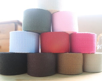 1.5 inch width, 5 yards, Solid Soft Cotton Canvas Strap