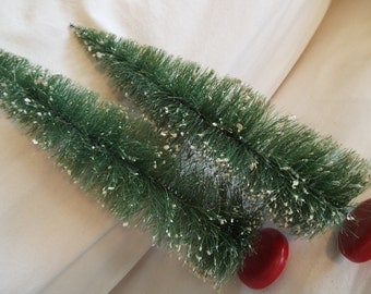 """2 pieces 13"""" tall retro  frosted bottle brush christmas trees 2 pcs."""