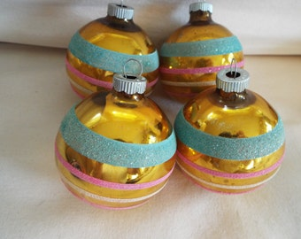 4 gold stripe mica frosted ornaments Shiny Brite