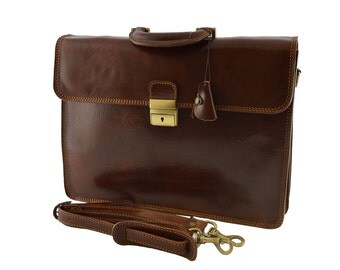 Leather Business Bag - Agneta - Tuscan Leather, Genuine Leather Briefcase 100% Made in Italy