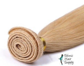 Hand Tied Lightest Blonde Color #613 Virgin Remy Blonde Human Hair Weft