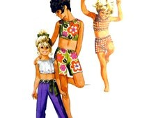 1970 Simplicity Jiffy 8862 Girl's Shorts in Two Lengths, Straight Leg Pants and Sleeveless, Collarless Midriff Top Sewing Pattern Size 6