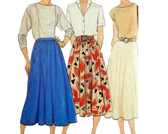 1985 Butterick 3067 Misses' Flared Skirt in Three Styles Uncut and Factory Folded Sewing Pattern Size 12-14-16