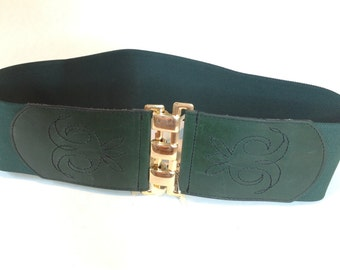 Vintage LORING & PAIGE Green Wide Elastic Cinch Belt, 1980s