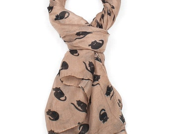 Brown Cat Print Scarf