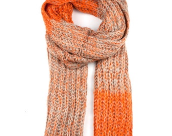 Orange & Cream Stripe Knit Scarf