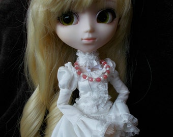 OOAK Silver,Pearl and Pink Quartzite Necklace for Pullip,Blythe,Dal,1/6 Dolls