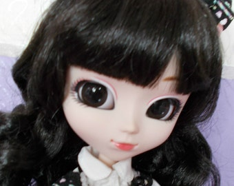 OOAK Rose Quartz and Black Agate Silver necklace for Pullip/Blythe/Dal and 1/6 Doll