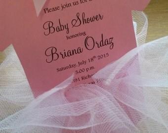 Cute Baby Shower Tutu Onesie Ballerina Pink tulle Invitation Girl